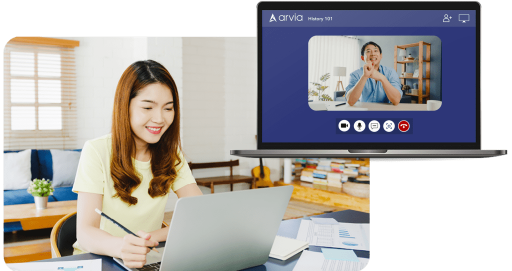 A girl taking private lessons from her teacher via Arvia video chat
