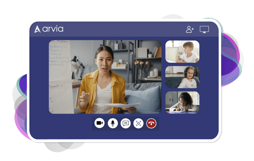 A teacher is having a class with her students through Arvia video chat