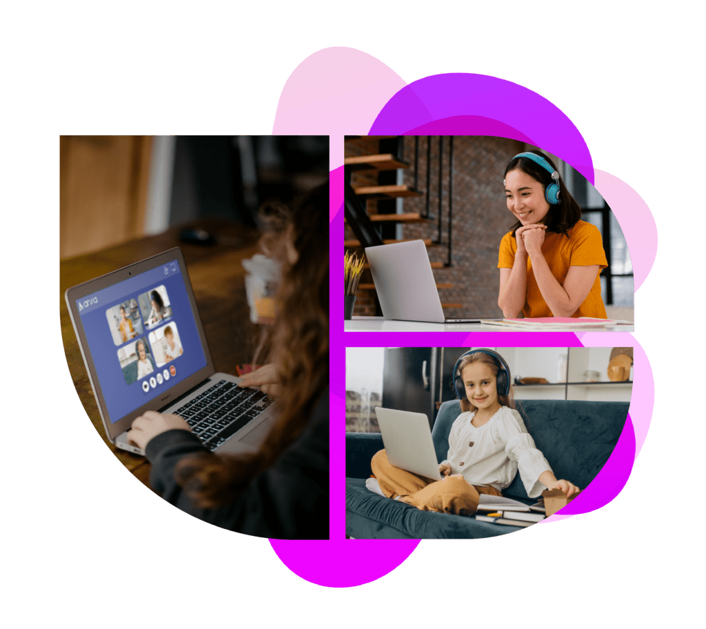 Three girls are attending online education via Arvia chat