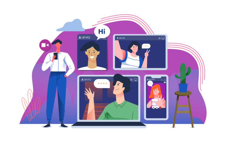 Illustration of four people who are video chatting via Arvia video chat