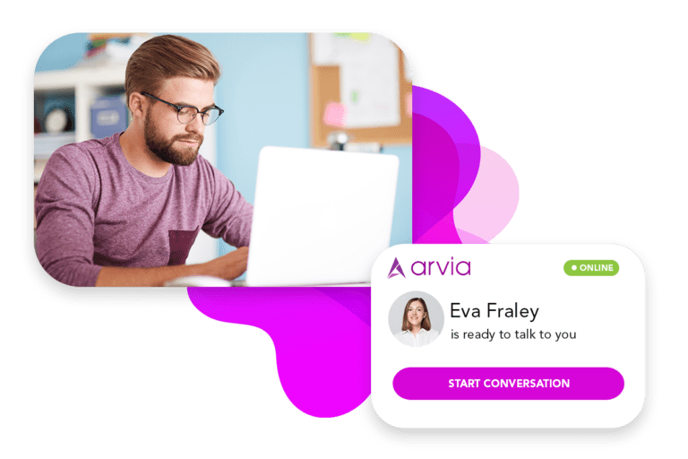 A man is communicating with a woman via Arvia video chat, and there is a Arvia chat widget on the screen