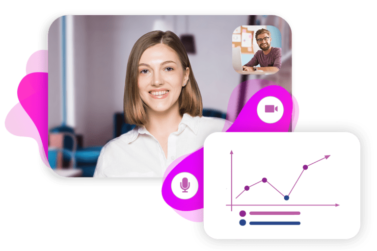 A woman is communicating with a man via Arvia video chat,and there is an analytics panel on the screen