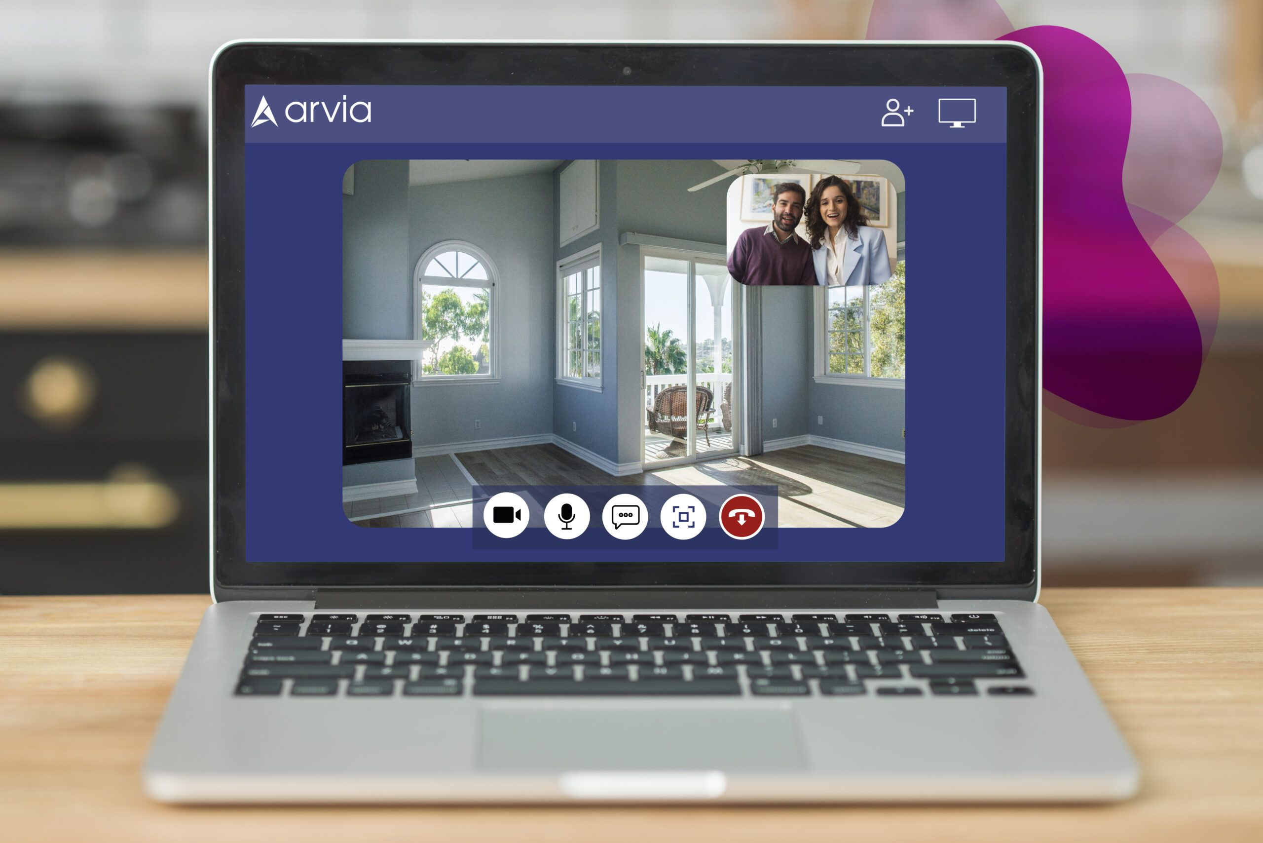A realtor is showing a house to a couple via Arvia video chat