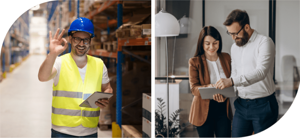 Two managers check out some conditions in the warehouse by talking to a worker via Arvia video chat