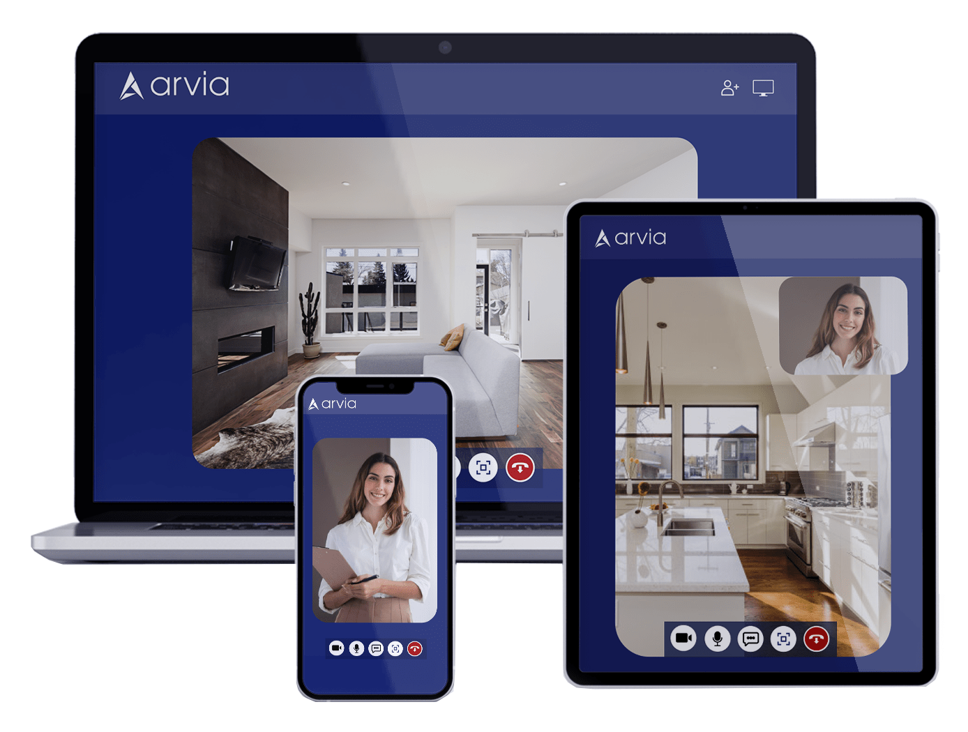 A realtor is showing an apartment by using a phone, a computer, and a tablet via Arvia video chat
