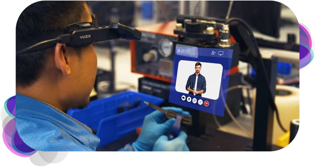 A man is getting technical support from his superior through smart glasses with Arvia video chat technology in it