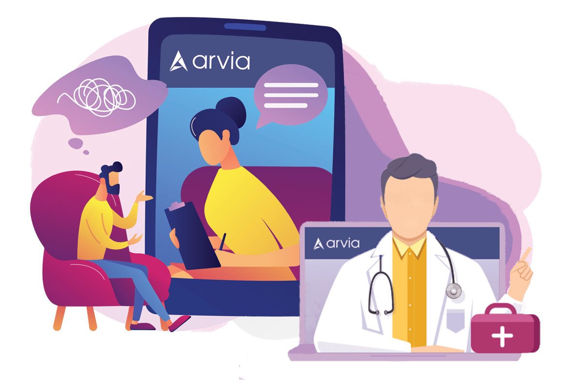 A doctor is asking questions to her patient via Arvia video chat