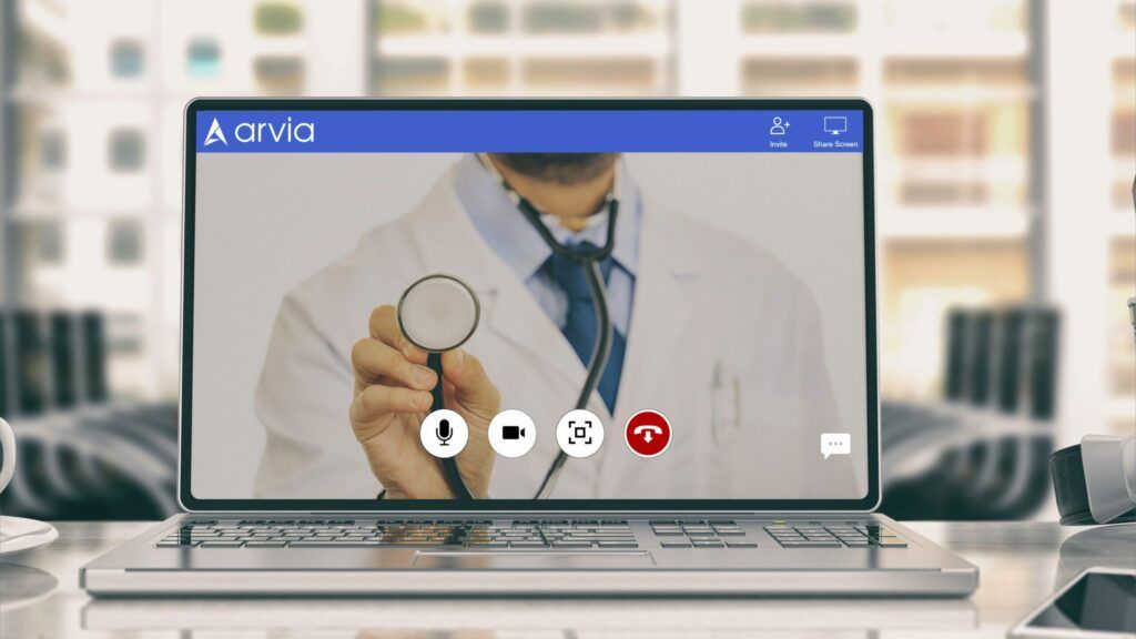 A doctor who is trying to examine his patient via Arvia video chat