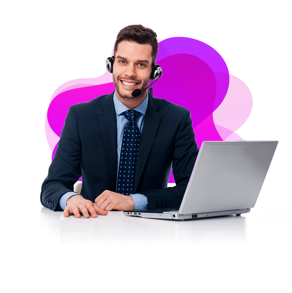 An assistant with a computer in front of pink background