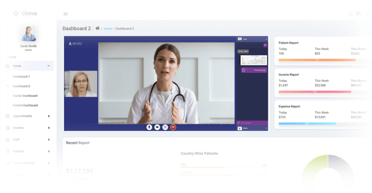 A doctor is getting contact with her patient via Arvia video chat on the hospital's website