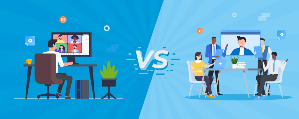 An illustraion which compares web conferencing and real life meeting